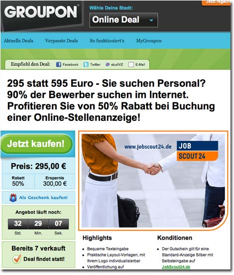 JobScout24 Groupon Aktion